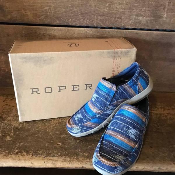 Roper Men's Dougie II Blue Southwest Driving Mocs