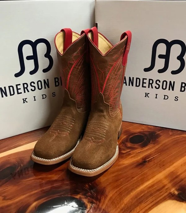 Anderson Bean Kids Tobacco Roghout Square Toe Boot ABK3010