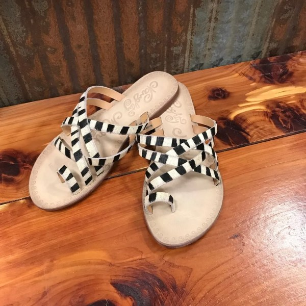 Ladies Naughty Monkey Zooche Zebra Print Slide Sandals NMSA0272