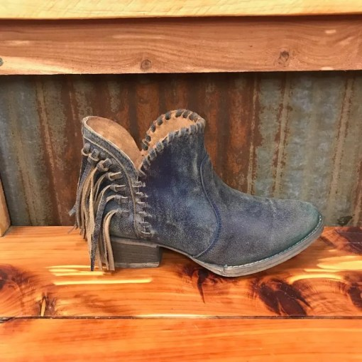 Ladies Circle G Blue Jean Fringe Fashion Bootie Q0006