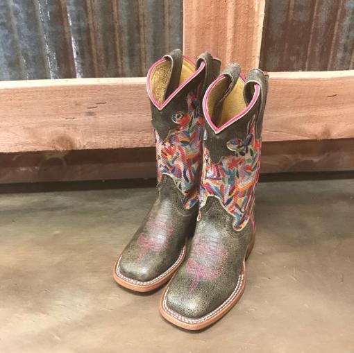 Girl's Macie Bean Multi-Color Cracktacular Square Toe Boot MK9133