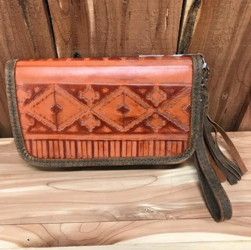 Double J Orange Rustico Orange Sunset Clutch Organizer