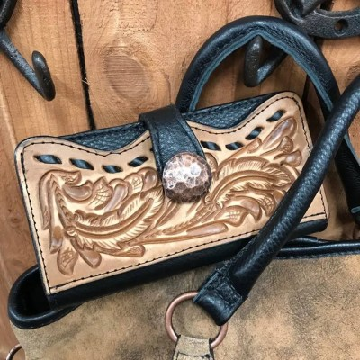 Double J Pecan Vintage Tooled Buckstitch Ladies Wallet LW00
