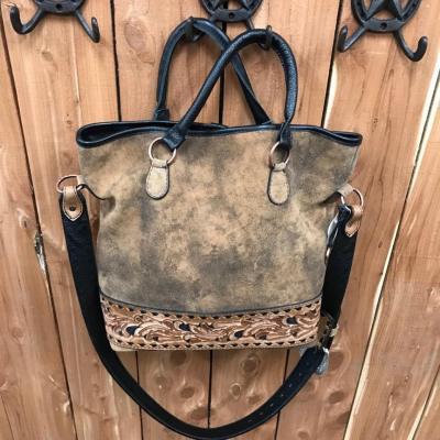 Double J Pecan Vintage Tooled Buck Stitched Messenger Bag MST45