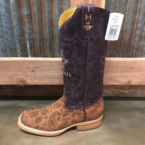 Women's Tin Haul Paisley Rain Flowerful Sole Square Toe Boot 1354 BR