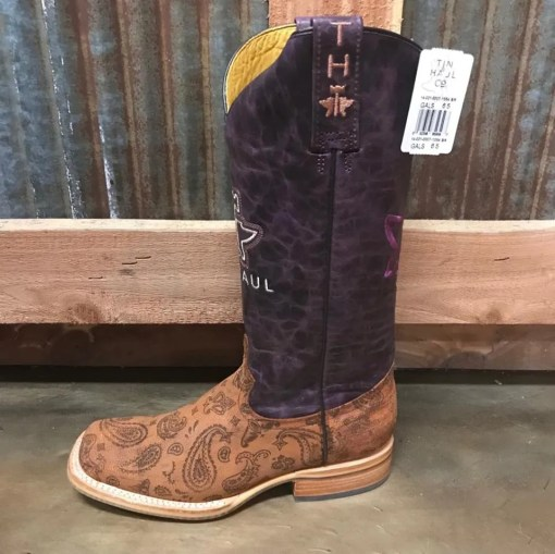 Women's Tin Haul Paisley Rain Flowerful Sole Square Toe Boot 1354 BR