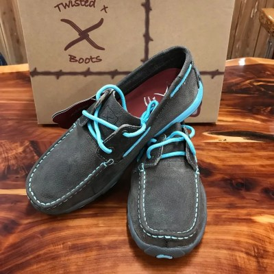 Women's Twisted X Driving Mocs- Grey/Light Blue WDM0098