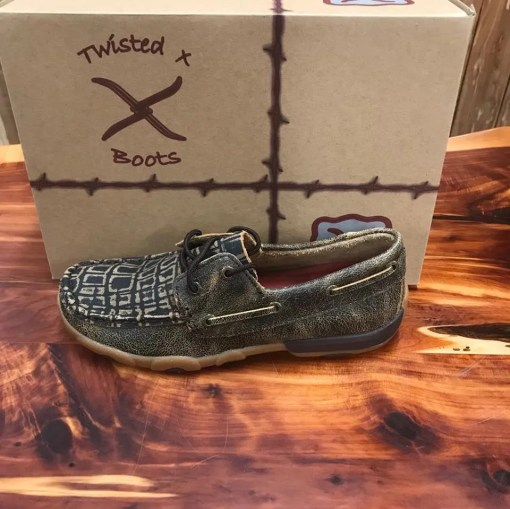 Women's Twisted X Driving Mocs-Distressed Cayman Print WDM0101