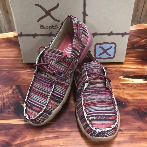 Women's Twisted X Driving Mocs-Red Multi Canvas WDM0103