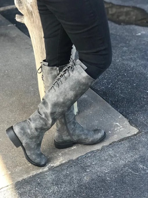 Ladies Ventura Distressed Grey Fashion Boot