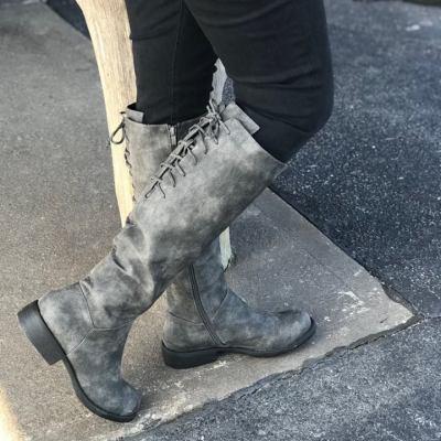 Ladies Ventura Distressed Grey Fashion Boot