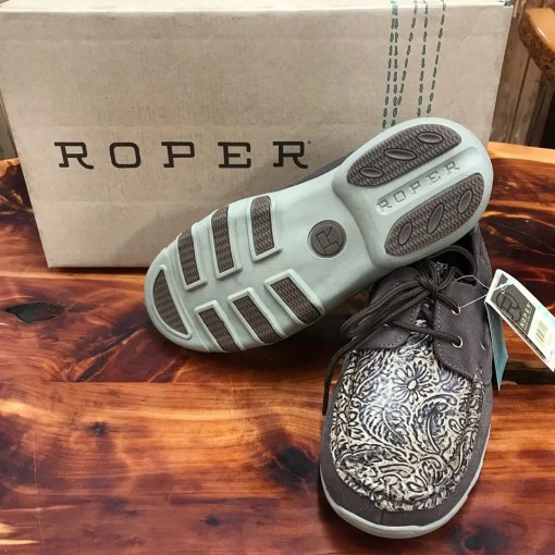 Roper Women's Brown Lacee Tooled Driving Moc Boat Shoes