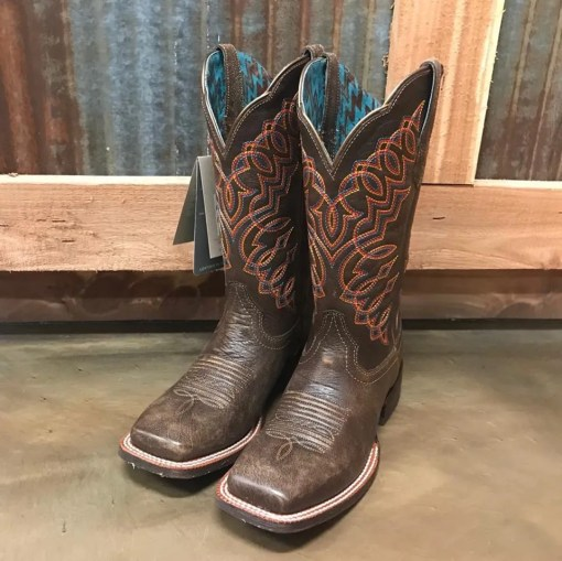 Women's Ariat Circuit Crisco Kickin Brown Square Toe Boots 10025021