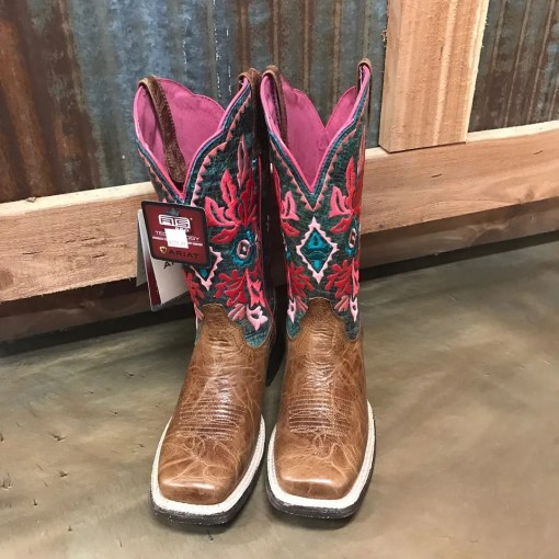 Women's Ariat Western Magnolia Embroidered Cool Blue Square Toe Boots 10025046
