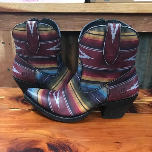 Ladies Ariat Circuit Cruz Aztec Saddle Blanket Snip Toe Bootie 10025087