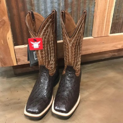 Men's Ariat Brown Platinum Full Quill Tobacco Ostrich Square Toe Boots 10025180