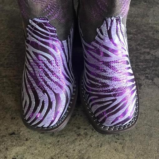 Girl's Roper Metallic Purple Zebra Print Cowgirl Boots 3705