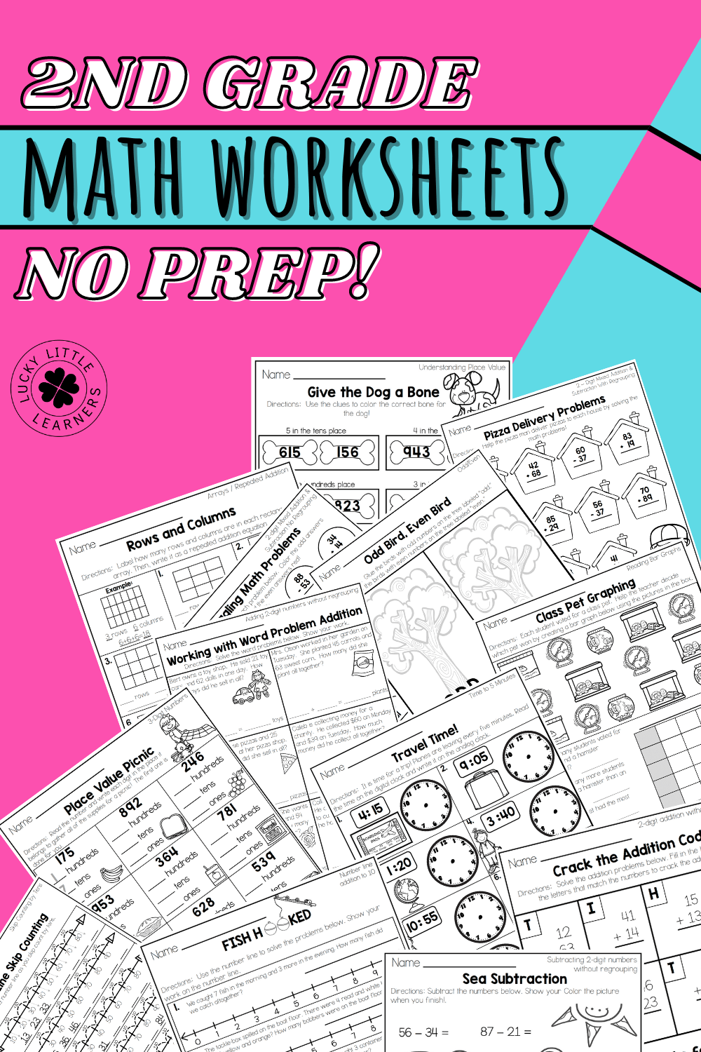 hight resolution of 2nd Grade Math Worksheets - No Prep! - Lucky Little Learners
