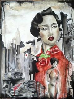 Cheongsam: The Rape of Nanking 18x24 Watercolor