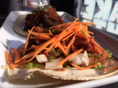 Pork belly and kimchee tacos