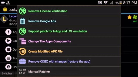 Patch Options in Lucky Patcher