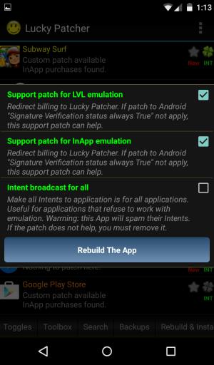 Click Rebuild the App