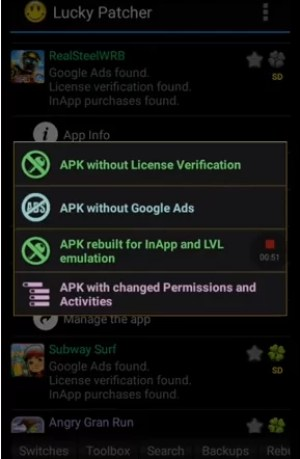 Click APK rebuild for InApp and LVL emulation
