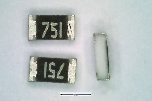 Resistor with 0603 package. Dimensions are 1.6 mm × 0.8 mm.