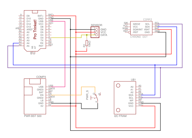 This is the wiring diagram for the simple version of the data logger.