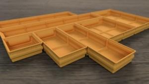 Flat Storage Boxes Set for 3D-Print