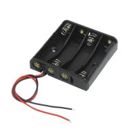 Black 4 x 1.5V AAA Battery Batteries Holder Case w Wire