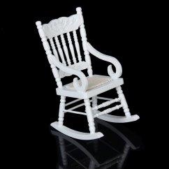 Wooden Glider Chair Australia Wedding Covers Elegant 1 12 Miniature Dollhouse Rocking Model White