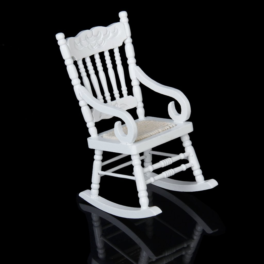Rocking Chair White 1 12 Miniature Dollhouse Wooden Rocking Chair Model White E9c4