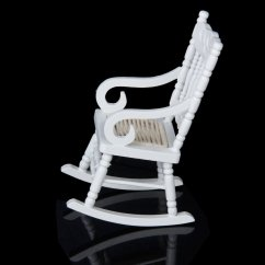 Mini Rocking Chair Upholstered Club Chairs For Living Room 1 12 Miniature Dollhouse Wooden Model White