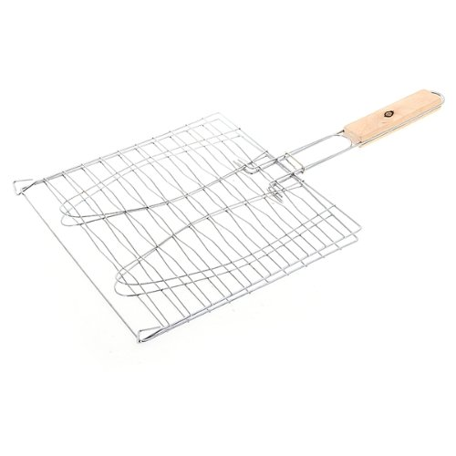 Triple Fish Grilling Basket Barbecue Tool 17.3 Inch Silver