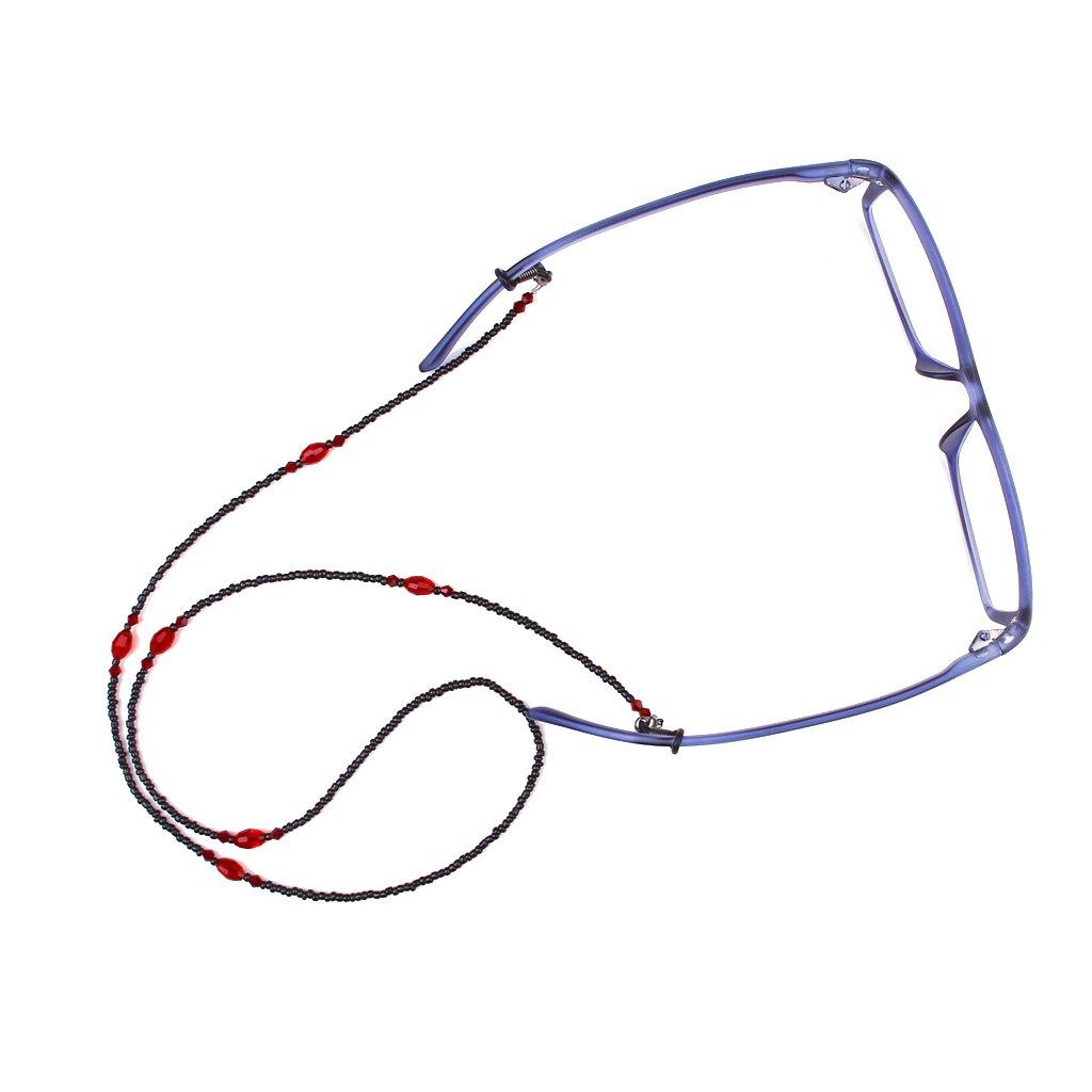 Black Amp Red Beads Eyeglass Reading Glasses Eyewear Chain
