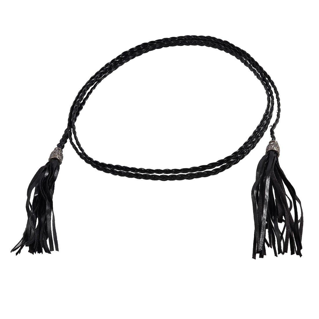 25s8 Tassel Detailing Braided Faux Leather Waist Belt Band