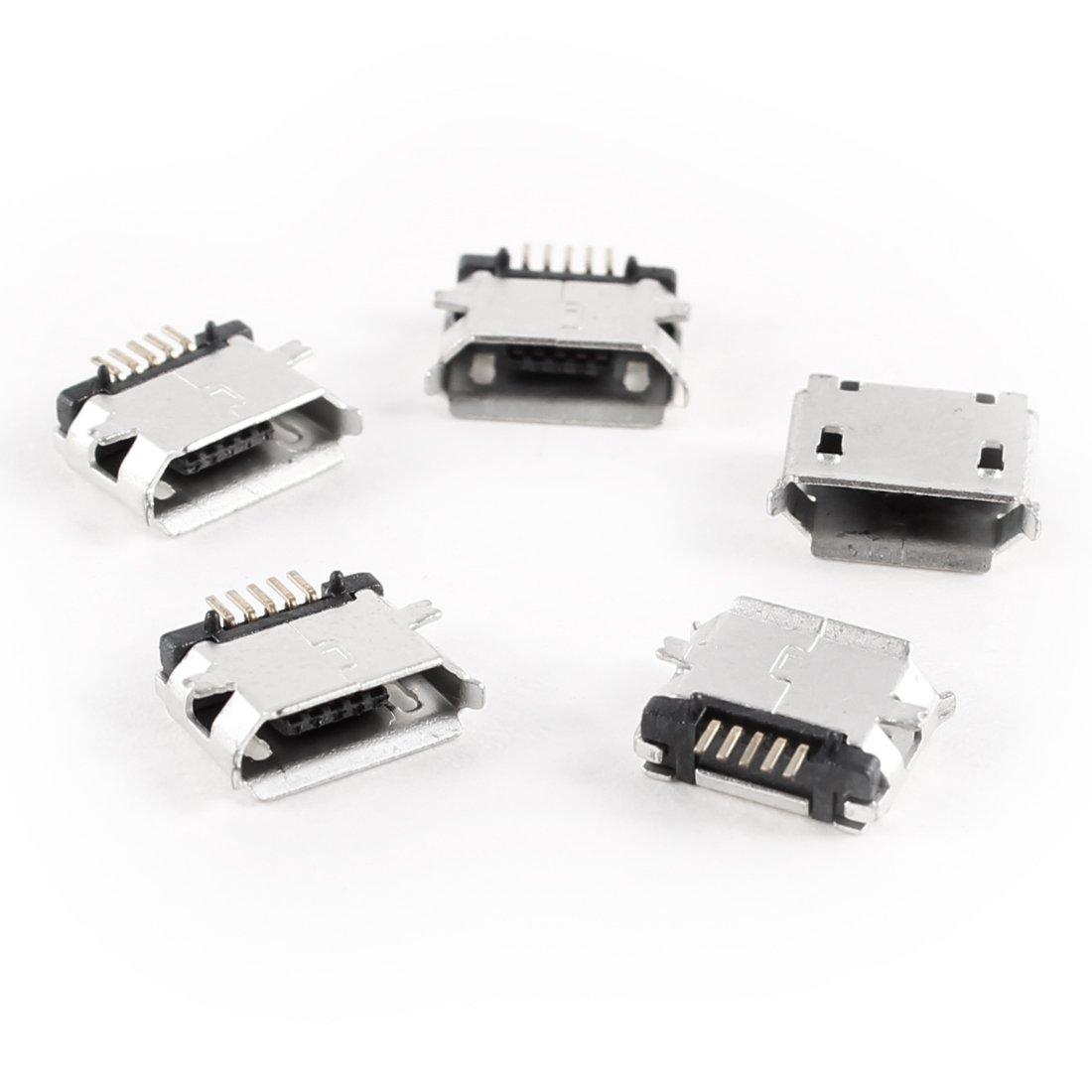 5 Pcs Micro USB Type B Female Socket 180 Degree 5-Pin SMD Jack SH   eBay