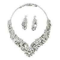 Rhinestone Crystal Earrings and Necklace Costume Bridal