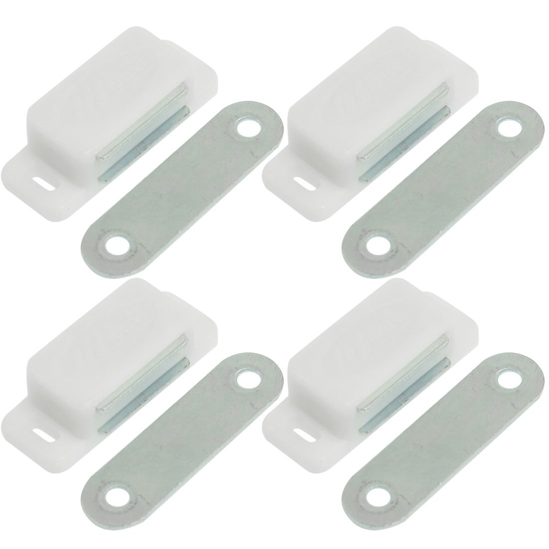 4 Pcs Plastic Shell Magnetic Metal Catch Latch Plate for