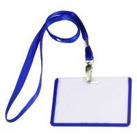 2 Pcs School Office Blue Lanyard Horizontal B8 ID Name ...
