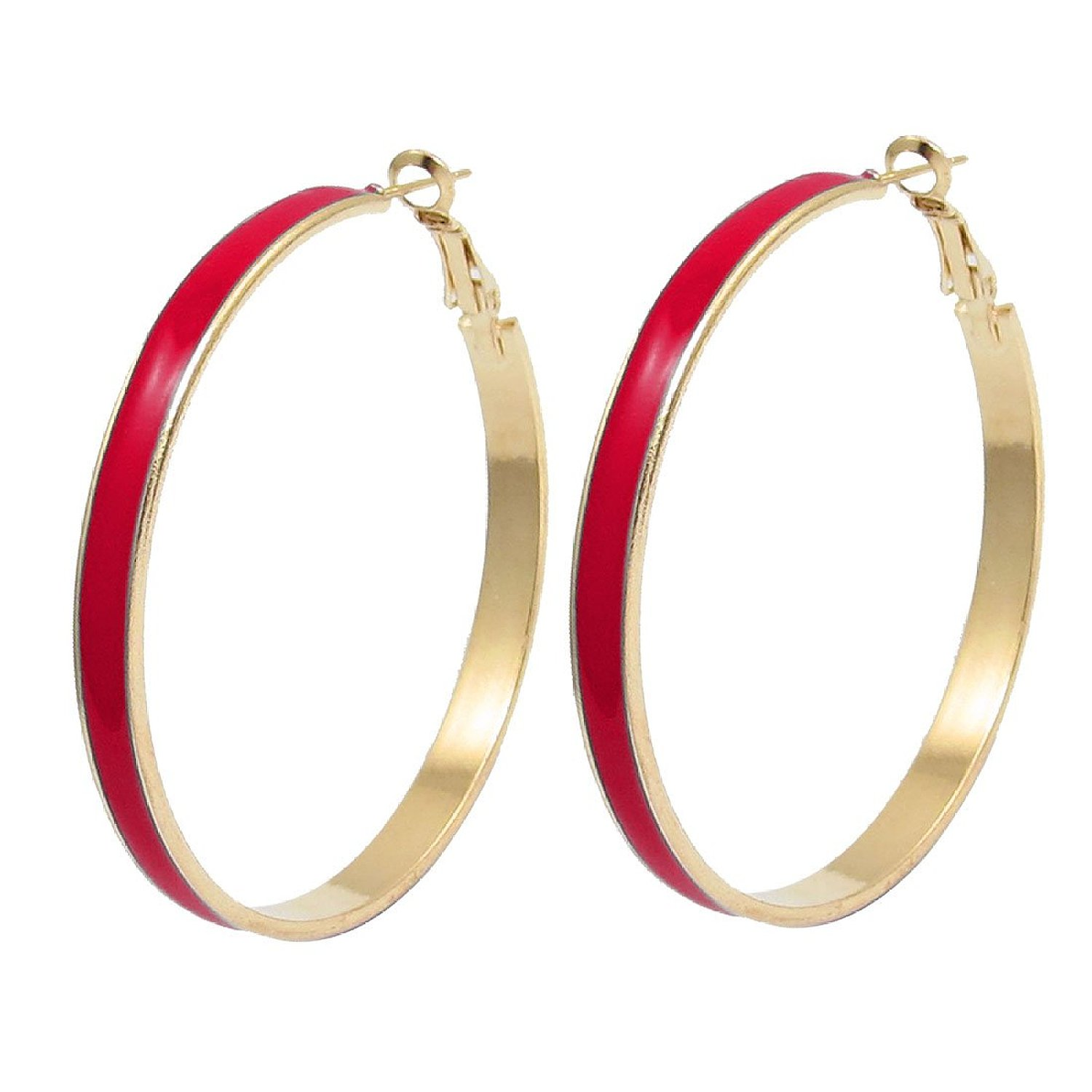 "2"" Dia Pair Red Gold Tone Plastic Cover Round Hoop"