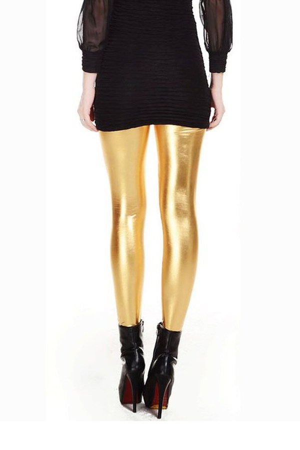 Metallic Wet Liquid Leggings Shiny Stretch Women