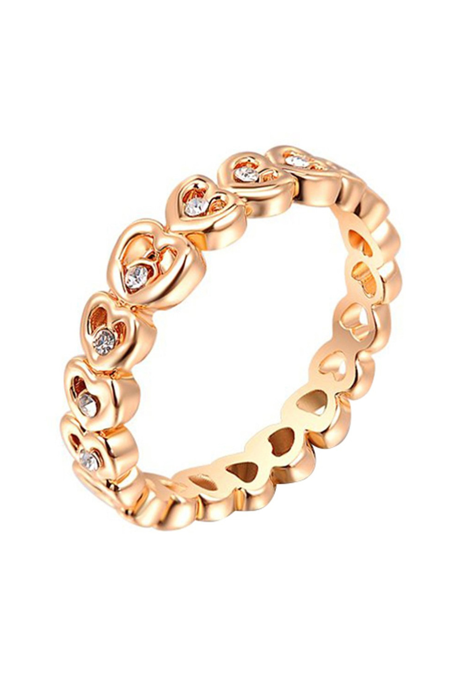 Gold Plated Heart Ring/Thumb Ring with Zircon Rhinestone