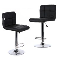 2PCS PU Leather Swivel Bar Stools Chairs Adjustable Pub