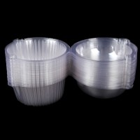 50x Single Plastic Clear Cupcake Holder / Cake Container ...