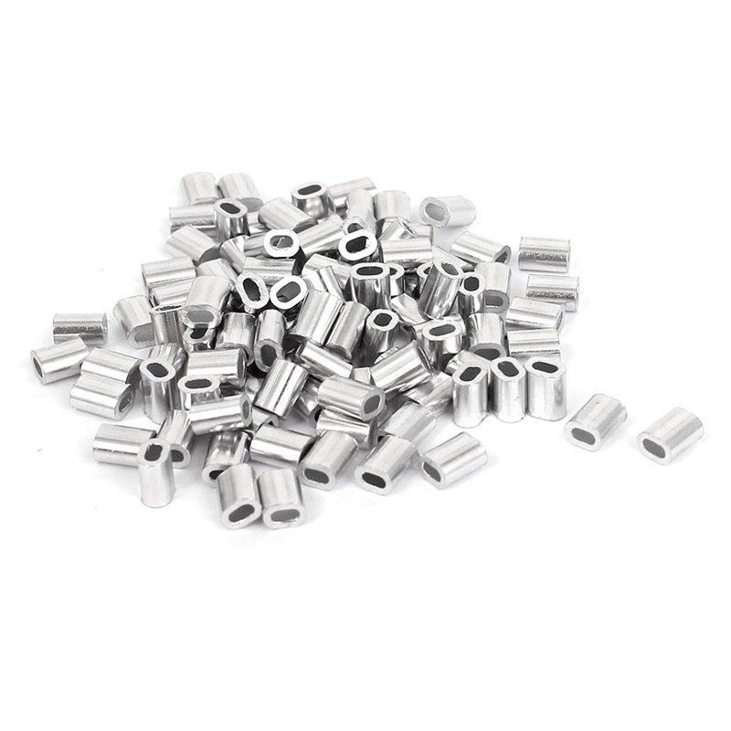 100 Pcs 1mm Steel Wire Rope Aluminum Ferrules Sleeves