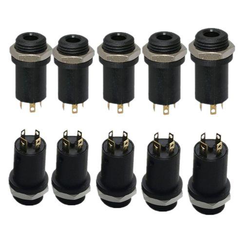 small resolution of 10pcs 3 5mm mini stereo female panel mount headphone jack solder black 4 c f1p9