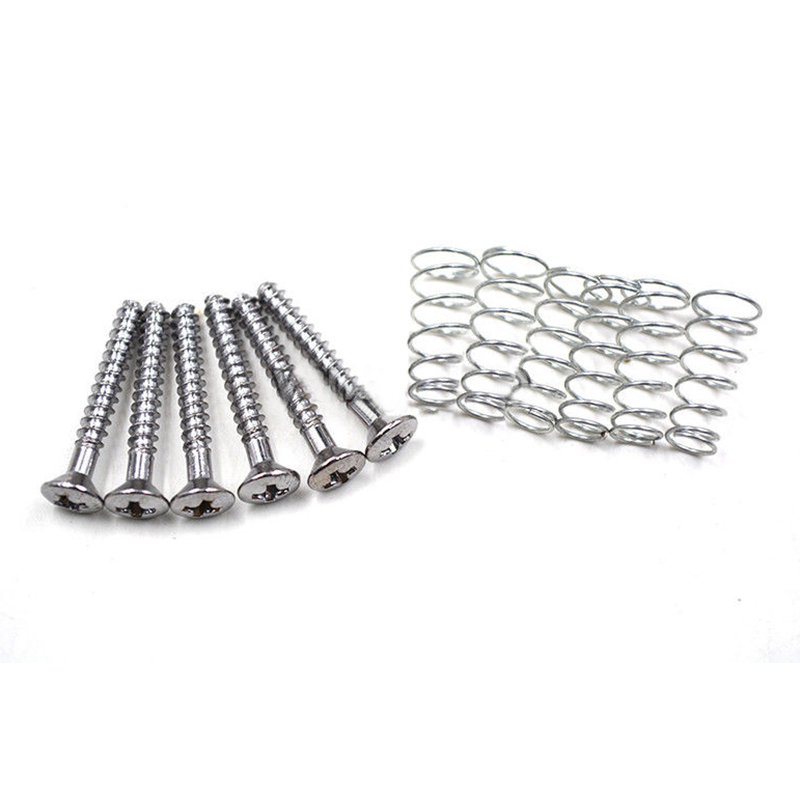 50pcs Chrome Single Coil Pickup Screws & Adjust Springs
