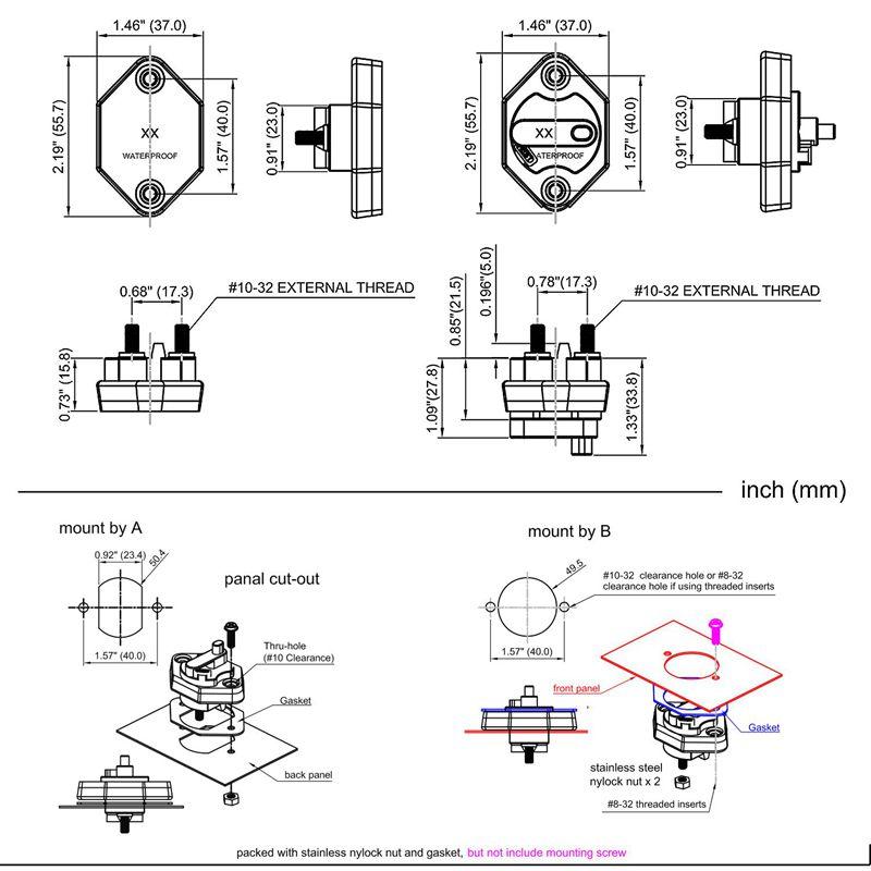 CS-664A1 Home Manual Reset IP66 Waterproof Circuit Breaker